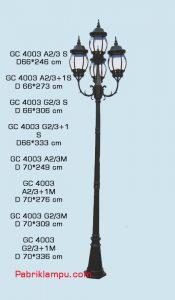 Jual lampu taman hias model tangan 3 tangkai + 1 atas GC 4003 A2/3 S